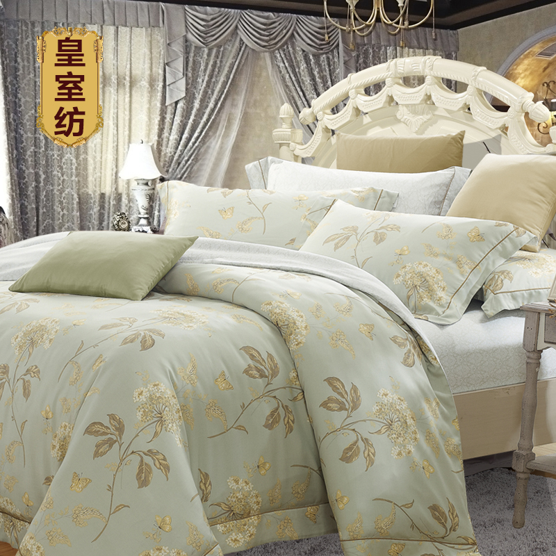 A set of four European luxury double silk satin jacquard bedding bed 4 pieces of 220x240/2.2x2.4 meters