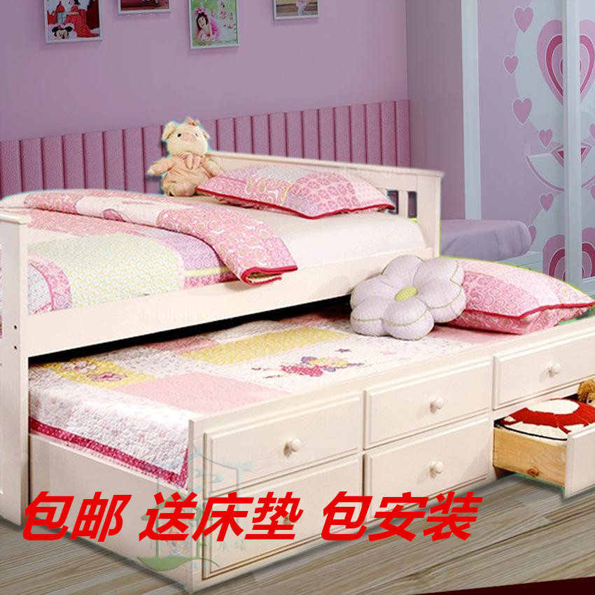 Solid wood bed 1.5 meters storage bed double bed white pine pumping broaching machine child bed bed with drawer window drag mother