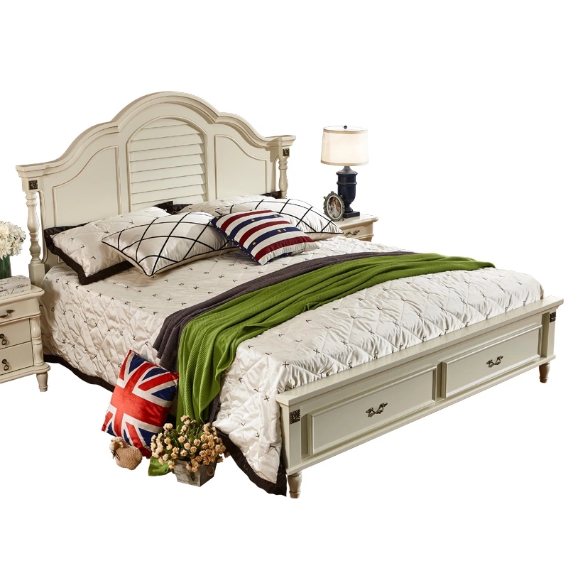 American country solid wooden double bed, 1.51.8 master bedroom, modern retro beauty, simple European style princess bed, white furniture