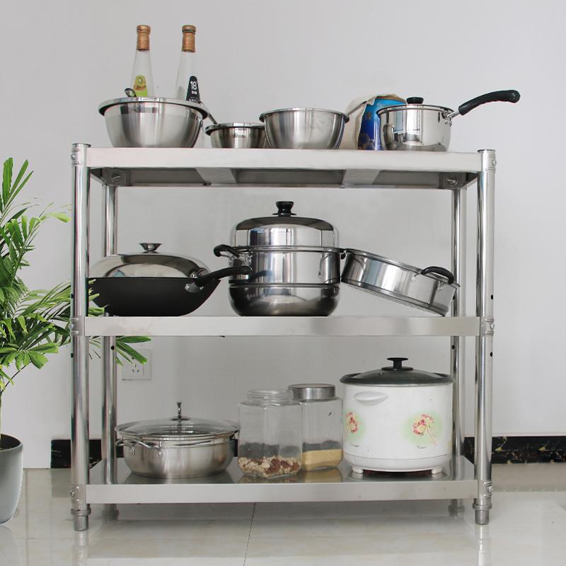 台所にしてステンレス置物機よんしよ層電子レンジベランダ収納棚あつらえる304多層棚