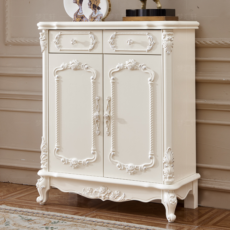 European white shoe cabinet solid wood assembly of European style shoe cabinet chamber cabinet