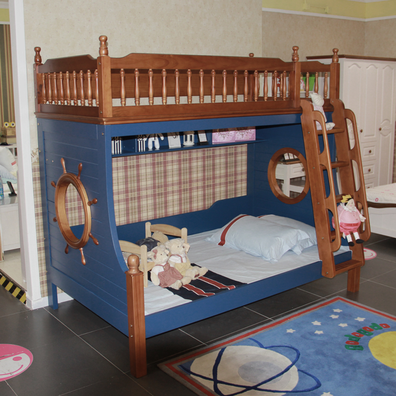 Children bed bunk bed crib blue bed double bed bed bed boy girl mother Mediterranean