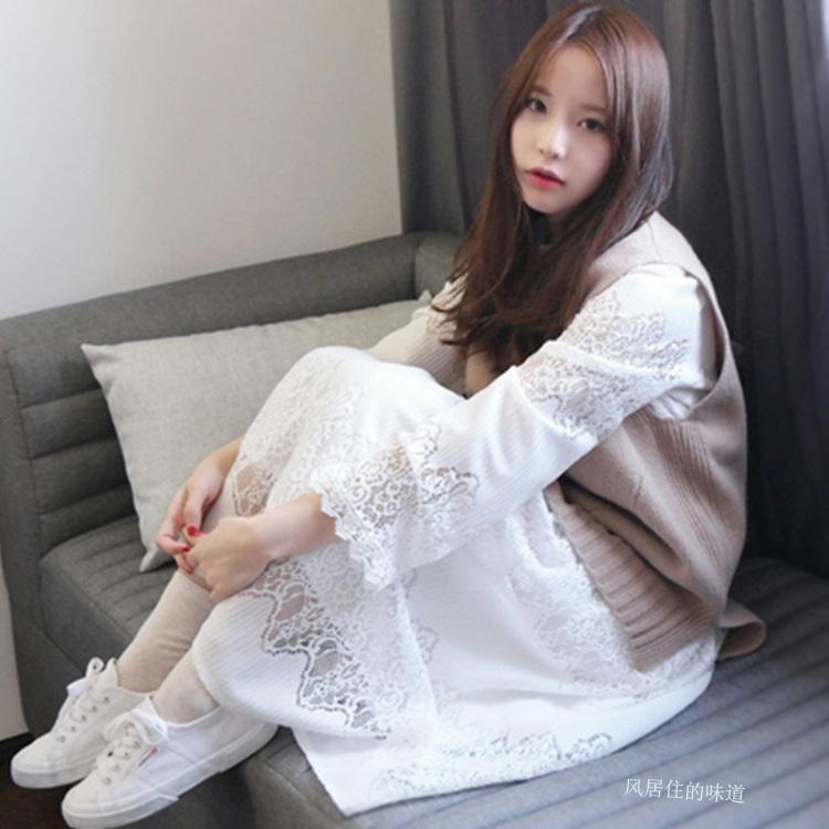 甜美少女学生女装小清新毛衣蕾丝长裙连衣裙两件套女秋冬季打底裙