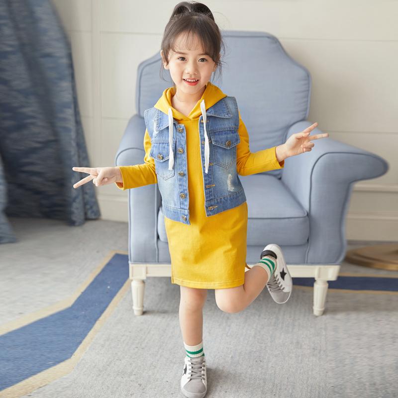 2018新款女童秋装套装韩版潮衣儿童时尚卫衣连衣裙秋款两件套64