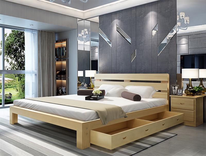 Cama cama doble de madera de pino de la economía simple de 1,8 metros de madera de camas cama de niños de 1,2 m de 1,5 metros