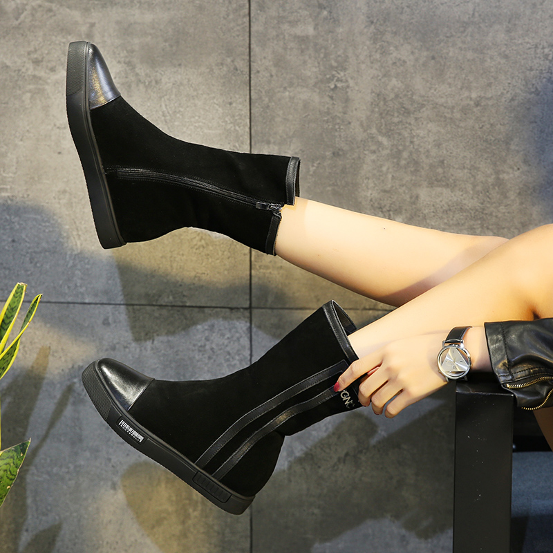 欧洲站新款棉靴子女真皮平底加绒短靴英伦风马丁靴中筒靴高帮鞋冬