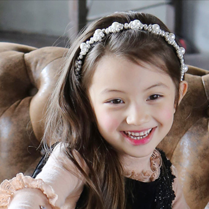 South Korea imported manual nail bead wide cloth hair girl children sweet toothed Headband Tiara slip