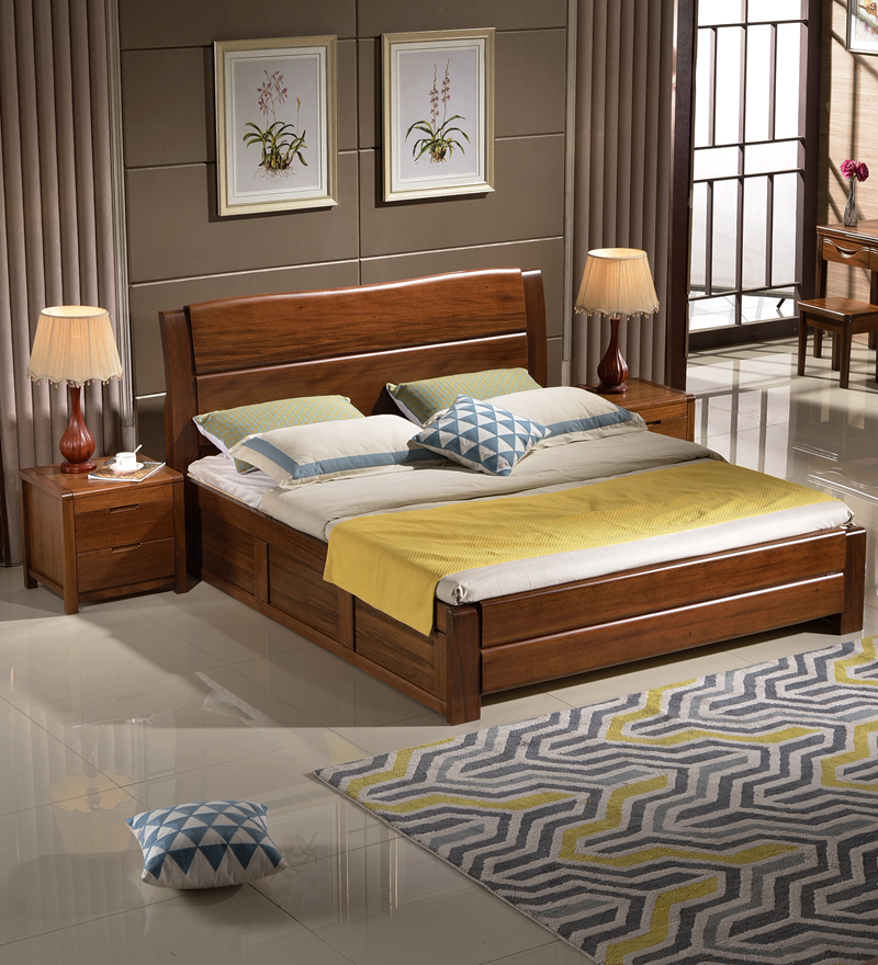 Walnut bed high box wood bed 1.8 meters walnut bed all wood furniture, double bed elm PK