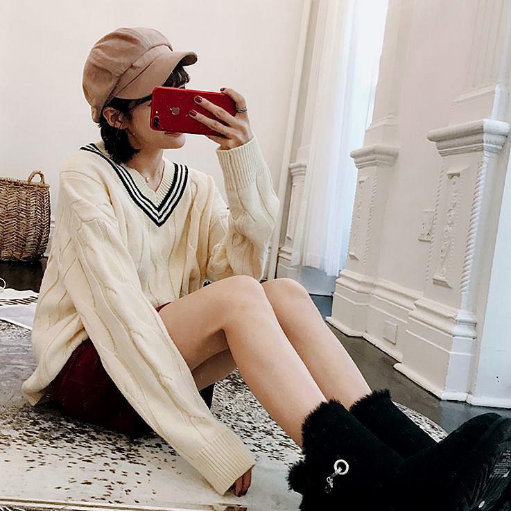 BIGKINGダイキン原宿セーター女セット頭ゆったり可愛いセーター女学生甘いけだるい学院風