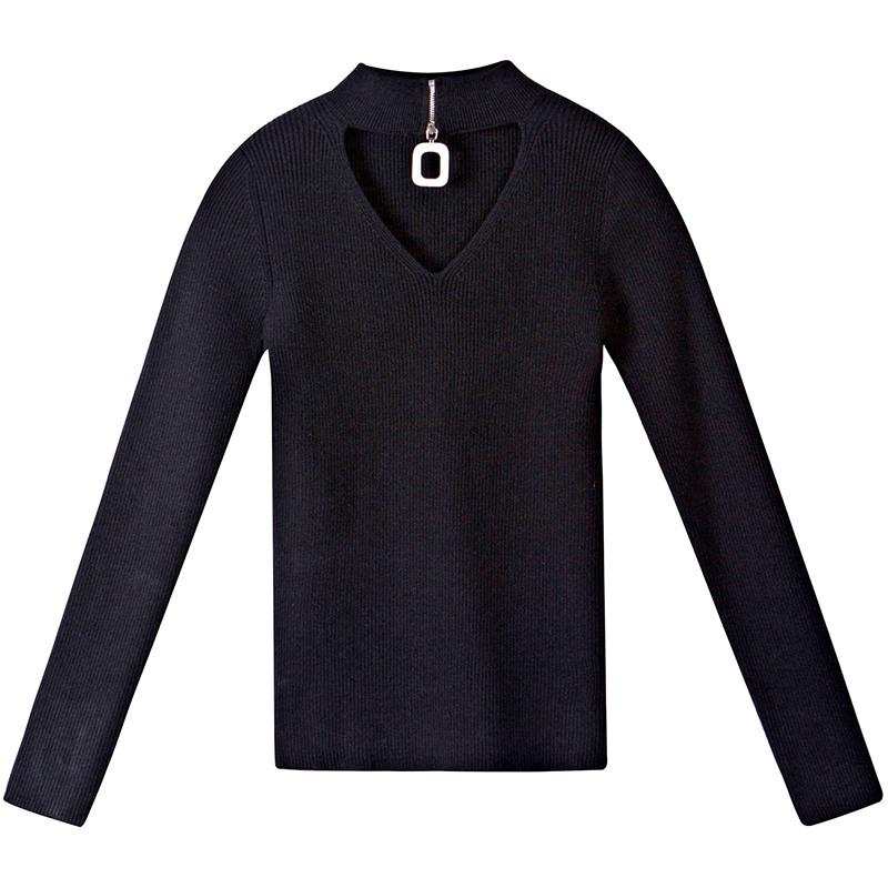 O dia especial de retro OCO camisola de gola Alta manga blusa manga comprida camisola angorá pequenas Mulheres outono inverno