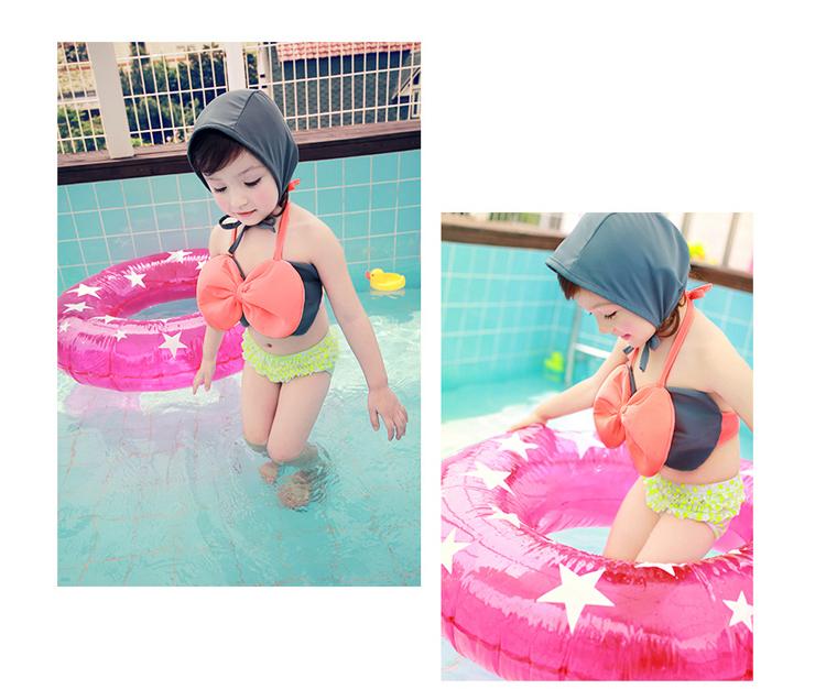 Hình ảnh nguồn hàng Set bikini và nón bé gái cột dây hình nơ dễ thương xinh xắn giá sỉ quảng châu taobao 1688 trung quốc về TpHCM