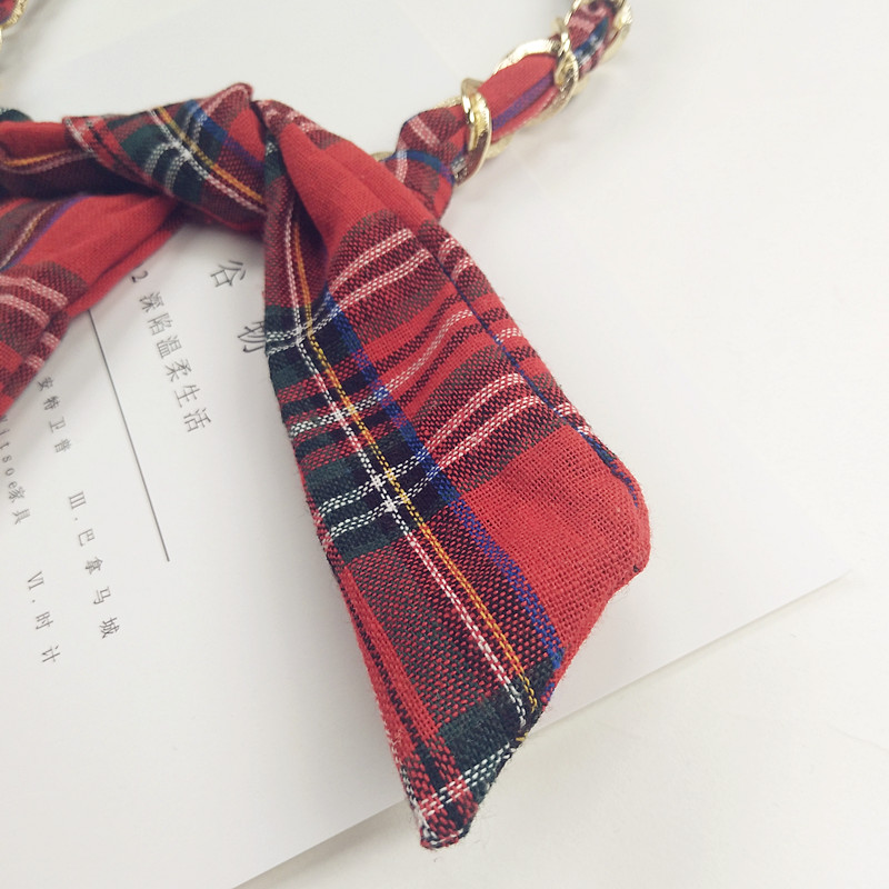 Die post neuen südkoreanischen koreanische retro - mode, rot kariertes kette kaninchen die ohren MIT haarband haarnadel - schleife