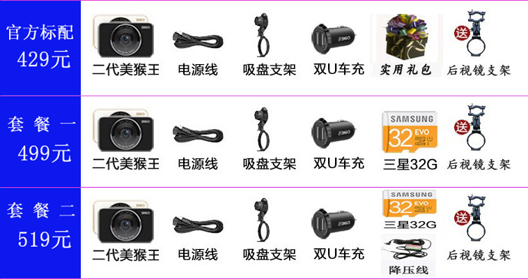 Qihoo 360 driving recorder II with electronic dog beauty monkey version of the HD night vision mini wireless 2 generation