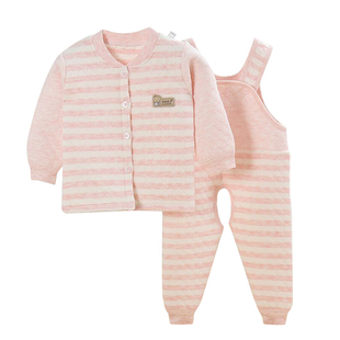 婴儿保暖内衣套装宝宝背带裤加厚夹棉开裆纯棉高腰连体裤秋冬新款