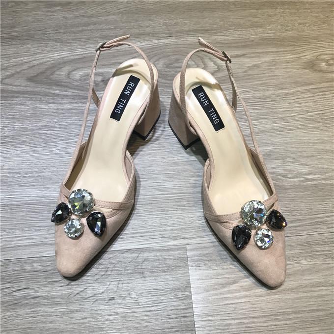 2017春款浅口粗跟单鞋水钻露跟高跟鞋凉鞋尖头中跟女鞋 2236/201