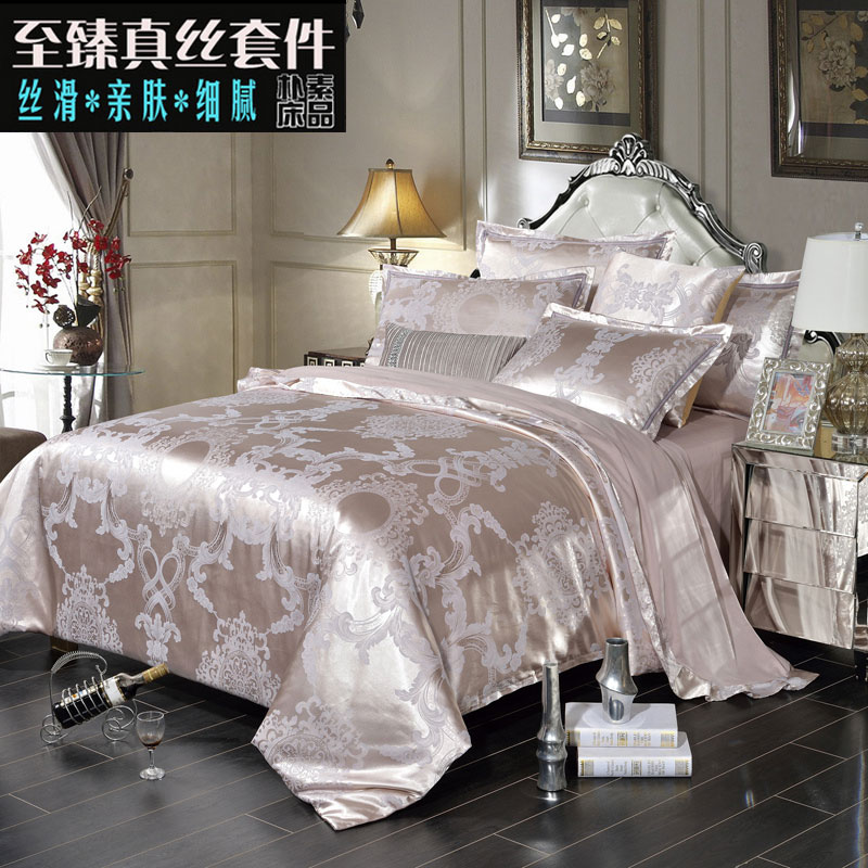 European Satin four piece cotton 1.8m 1.5M bed bedding Tencel jacquard silk cotton linen quilt