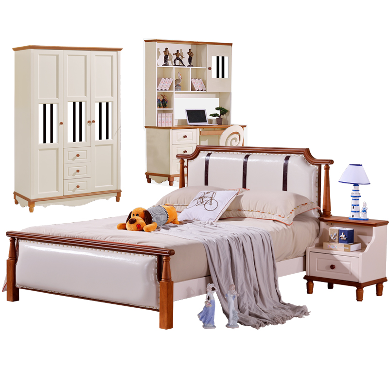 Mediterranean solid bed 1.5 meters, children's suite furniture, double bed storage, high box bed, 1.2 ribs bed