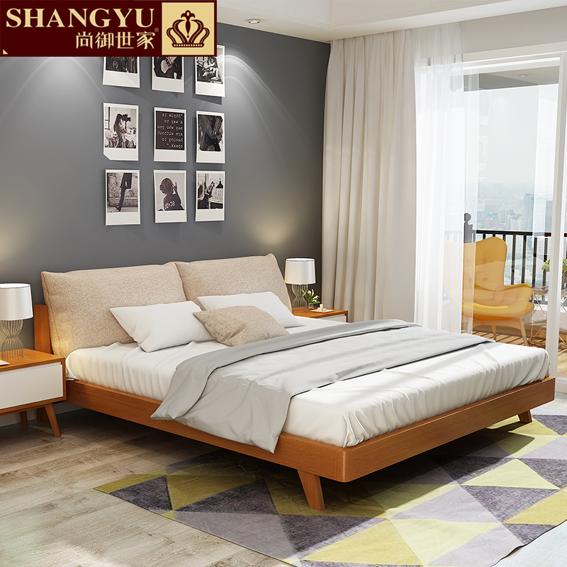 Royal European Master bedroom, wedding bed, log soft, simple modern furniture, pure Japanese double bed