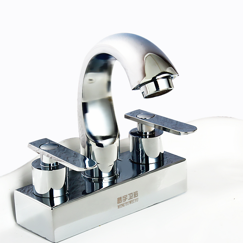 Double head faucet with double holes, cold and hot water, double faucet, washbasin, revolving head, pure copper valve core
