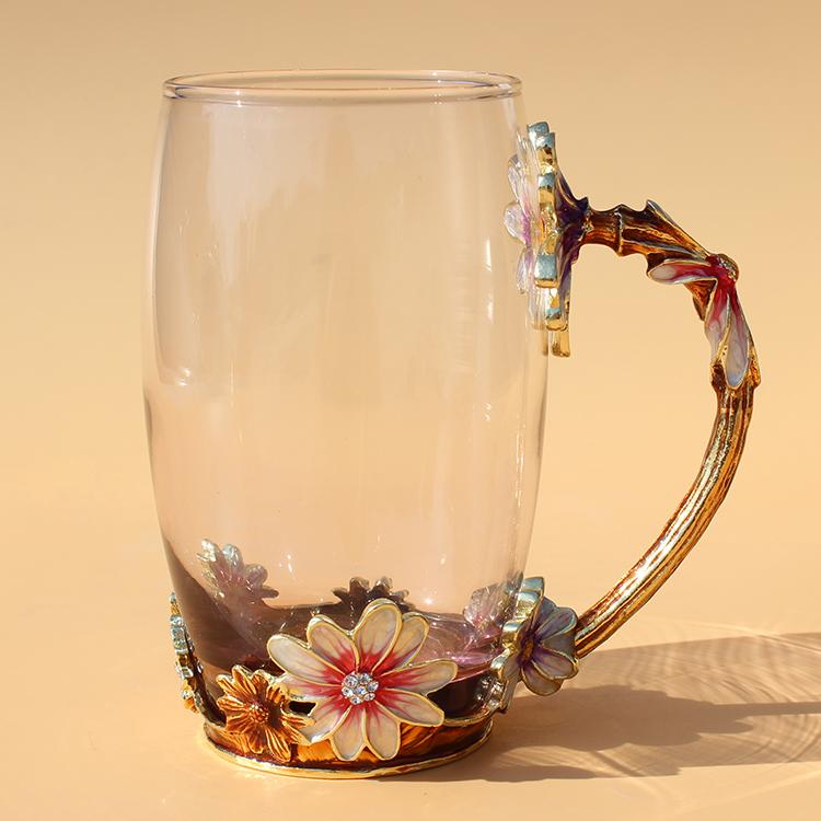 Vaso de cristal de calidad Europea de esmalte color verano taza resistente al calor de la taza de té de la Oficina Nacional de flores.