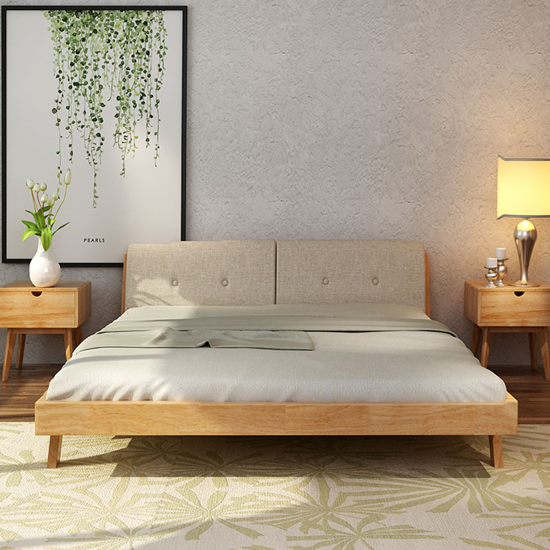 Bed master bedroom is simple, modern double bed 1.5 meters 1.8m Japanese style solid wood plus fabric, soft back bed, Nordic solid wood bed