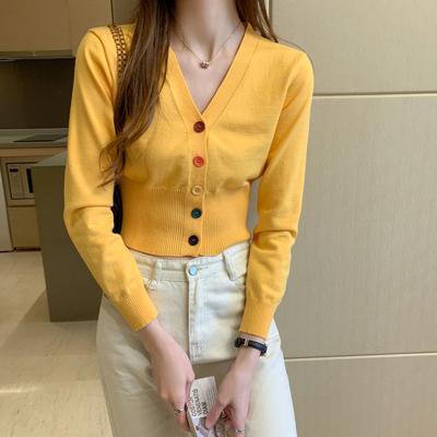 针织衫女秋季2021年新款韩版温柔风外搭开衫薄款毛衣长袖短款上衣