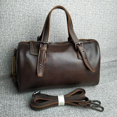工厂尾单真皮女包头层牛皮手提包外贸余单纯皮枕头包中包斜挎包