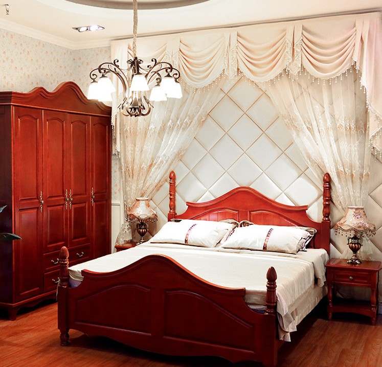 New Mediterranean single double bed oak solid wood furniture adult customized parcel post installation