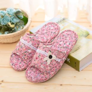 居家布艺拖鞋可机洗无声室内纯棉男女夏秋季情侣木地板静音软布底