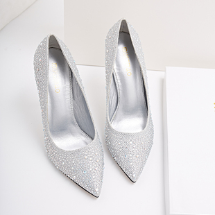 2017 new winter female high-heeled shoes with a fine pointed golden wedding shoes crystal evening dress shoes silver bride shoes