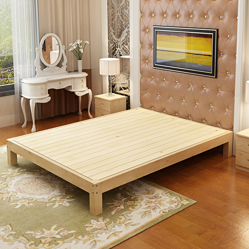 Modern minimalist pine wood single bed double bed frame 1.21.5 tatami bed 1.8 meters of logs can be customized