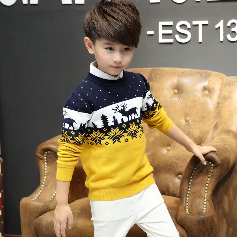 儿童装男童针织衫套头中大童加绒加厚毛衣秋冬款纯棉打底衫韩版潮