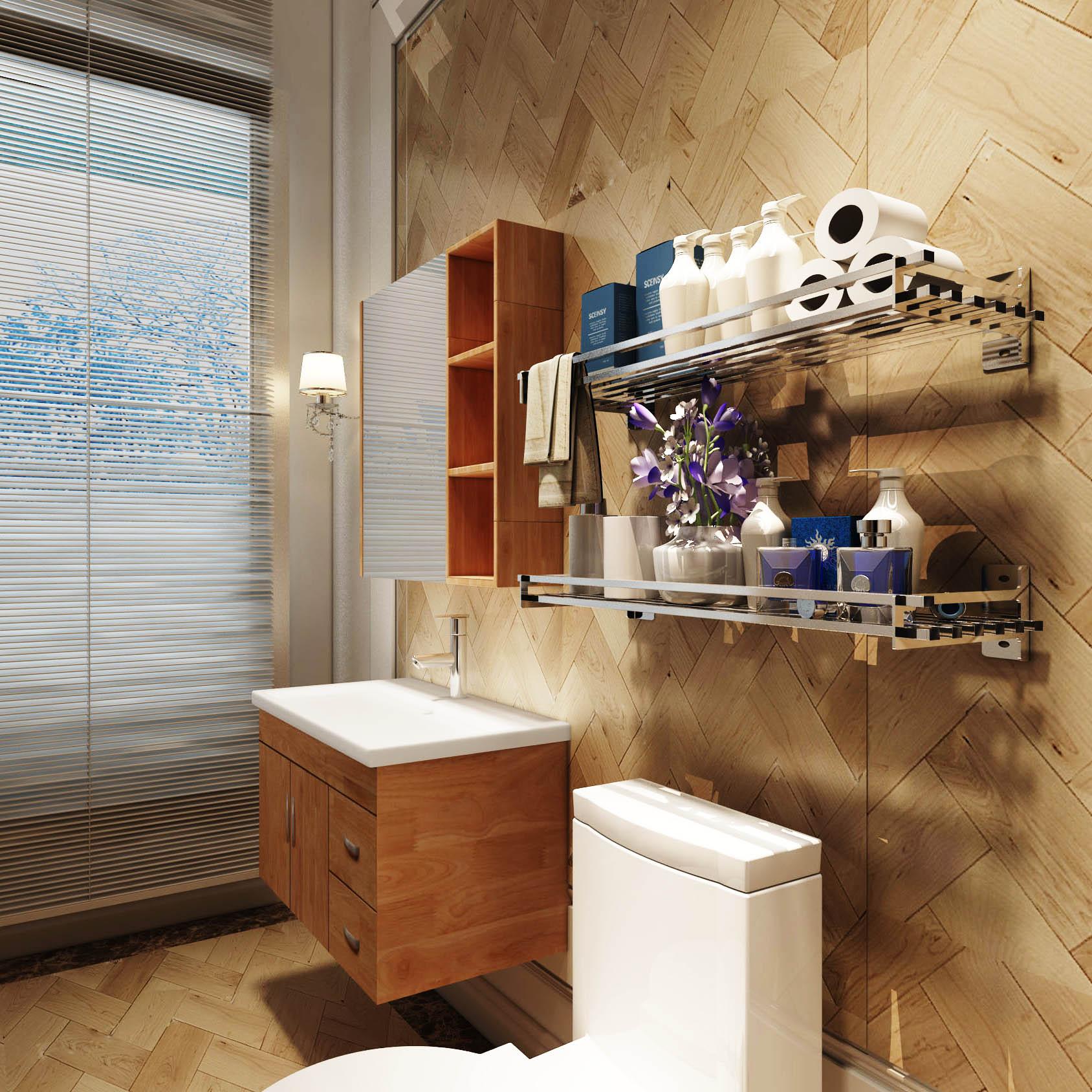 La costumbre de acero inoxidable para colgar en la pared de la lavadora Rack de almacenamiento estante de hierro forjado del balcón con marco flores.