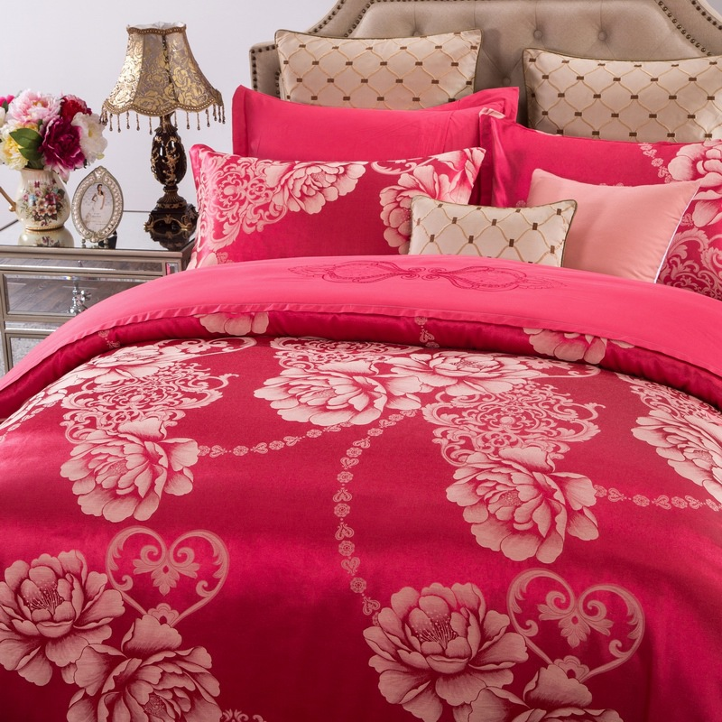 Cotton bedding four piece and Cathy Satin Jacquard sheets fitted red festive wedding gift is money