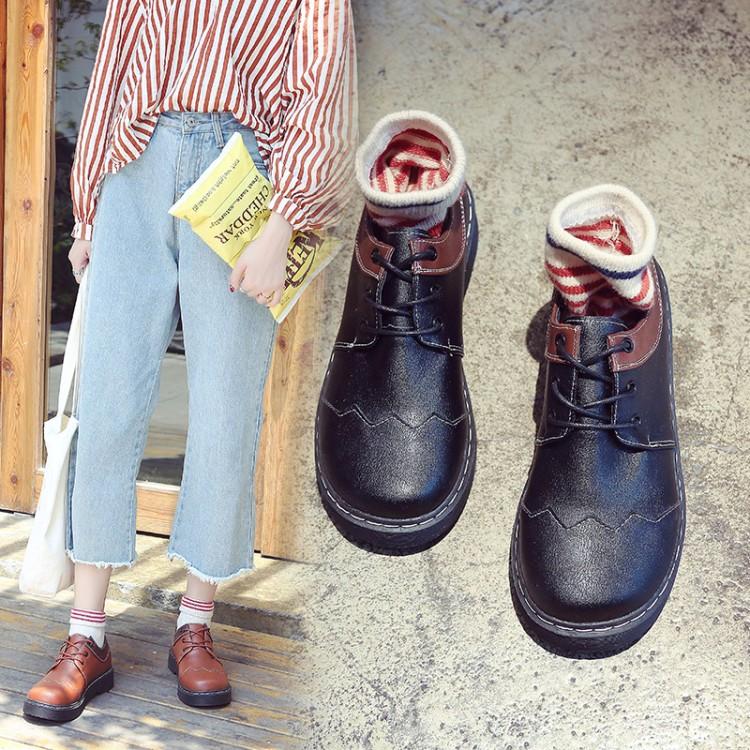 韩国ulzzang原宿学院风大头小皮鞋女娃娃鞋英伦复古学生百搭单鞋