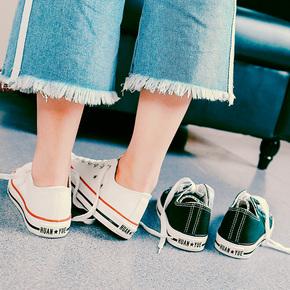 2018夏天新款帆布鞋女百搭韩版布鞋原宿ulzzang小白鞋学生板鞋子