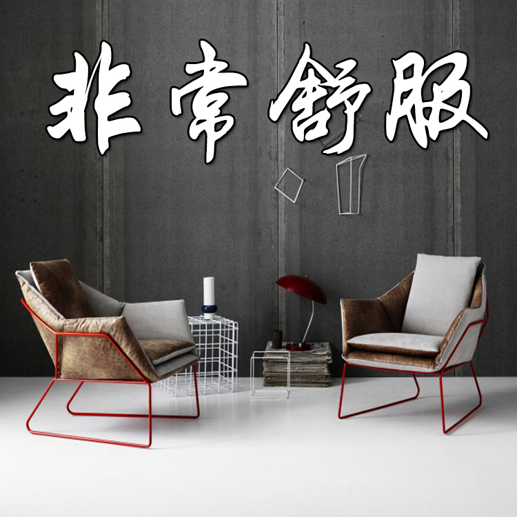 Nordic simple iron art office laziness sofa chair single person cloth art bedroom sofa leisure chair creative Cafe