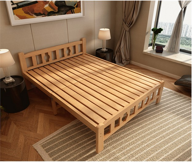 Thickening simple lunch bed, folding bed, solid wood single bed, wooden bed, 1.5 double bed, 1.8 children's bed, pine