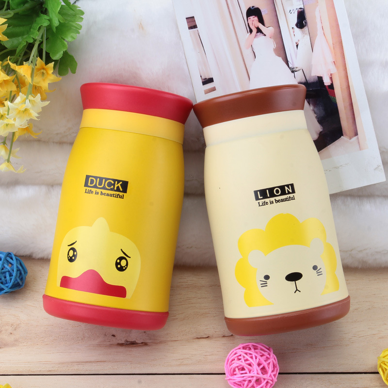 Cool cup, cute cartoon double layer vacuum stainless steel kettle, male lady portable children's belly cup customization
