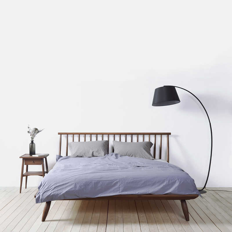 Yi Kao Gong | knowledge gap | bed solid wood Nordic modern minimalist black walnut, red oak wood double bed