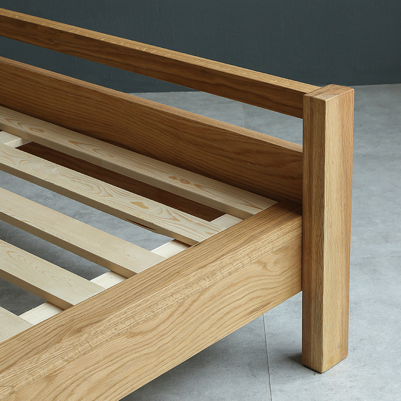 Nordic all solid wood high double bed, oak bedroom, marriage bed, simple black walnut 1.8 meters