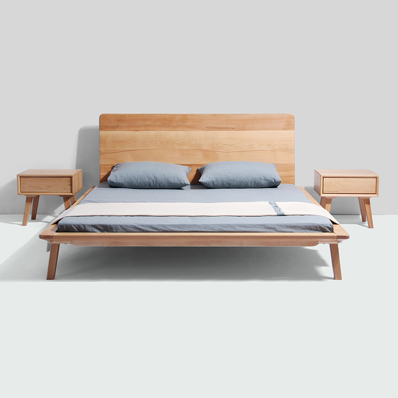 Nordic solid wood bed double 1.5 meters, 1.8 meters adult oak beech master bedroom, modern minimalist Japanese small family house