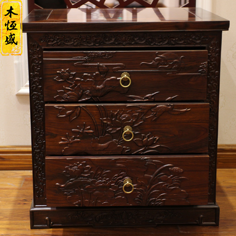 Hengsheng wood mahogany furniture Indonesia Blackwood wood bed deep carved lotus double leaved rosewood bed