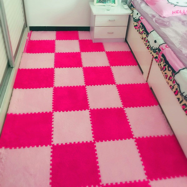 The bedroom covered with mosaic puzzle suede foam pad Piaochuang Taiwan crawling pad pad tatami room living room carpet