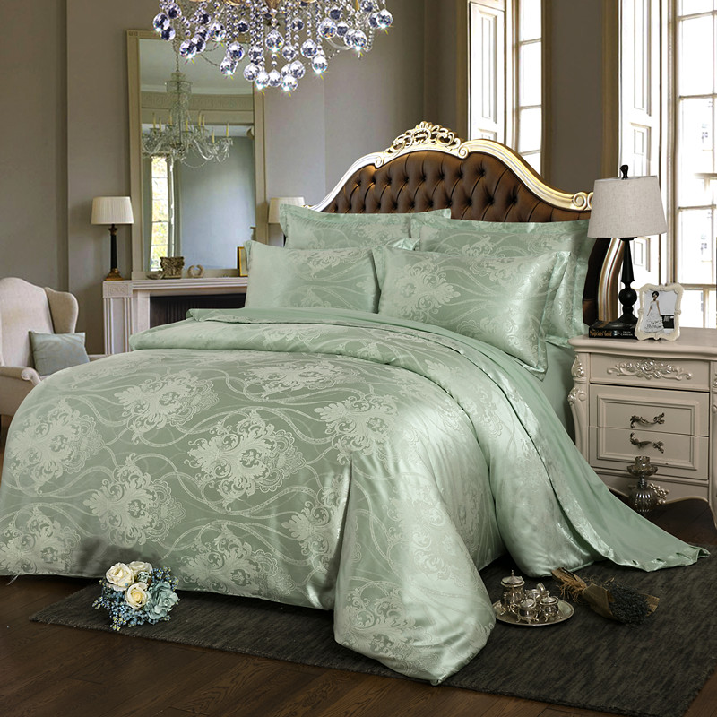 European style jacquard four piece silk wedding 1.5 double bed linen Tencel 1.8M2.0 Satin bedding