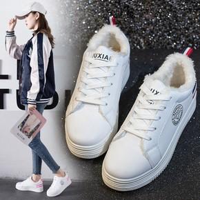 Z冬季新款加棉百搭韩版厚底平底松糕底板鞋学生小白鞋女