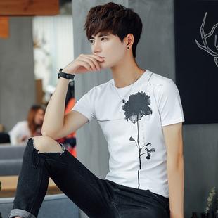 夏季男士圆领短袖t恤韩版潮流学生体恤青少年修身男装半袖衣服