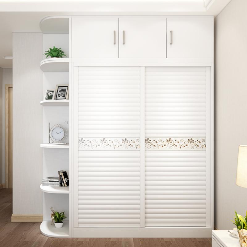 L'économie de type à plaque de porte coulissante de garde - robe simple moderne globale de la porte de la Chambre de meubles en bois massif 2 placard de personnalisation