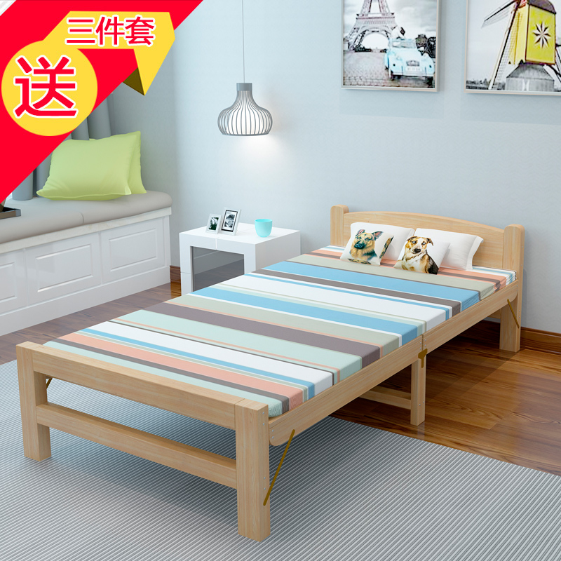 Folding bed, single bed, adult simple wood bed lunch bed, children's home portable economic double pine bed