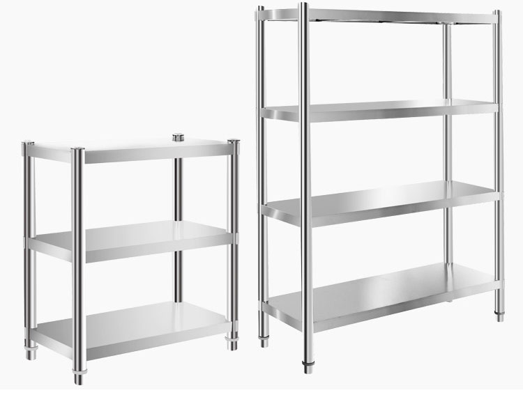 Kitchen shelf rack three layer thickening stainless steel storage frame, microwave oven, household finishing pot shelf can be customized